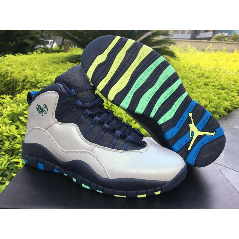 best website 4e6d7 a9904 Outlet Air Jordan 10  Rio  Wolf Grey And Photo Blue-Obsidian-Green ...