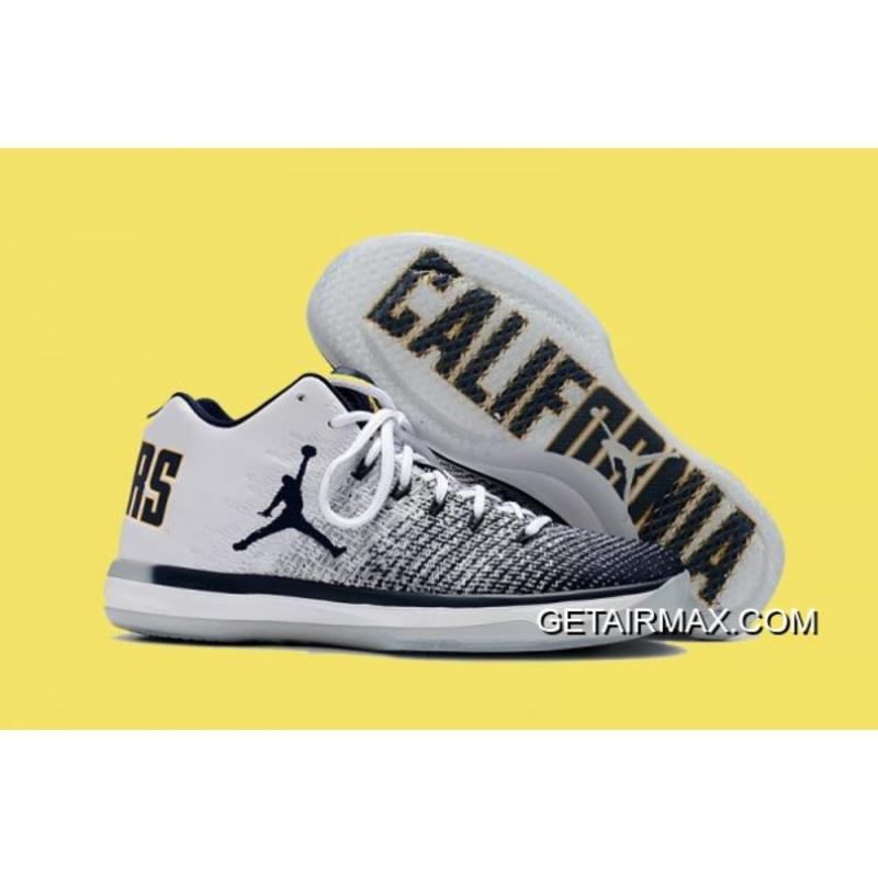 a1e358c1966d8 Air Jordan 31 Low  Cal  White And Amarillo-College Navy New Style ...