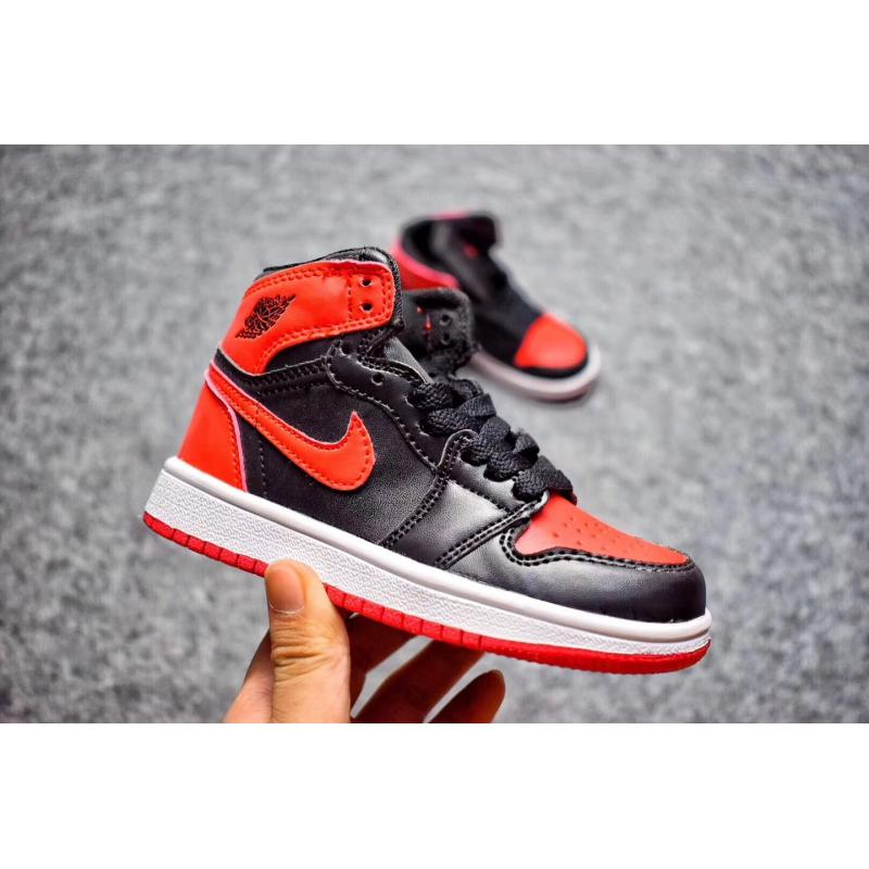 the latest 52652 77383 Air Jordan 1 Retro  Banned  Black Red For Kids Online ...