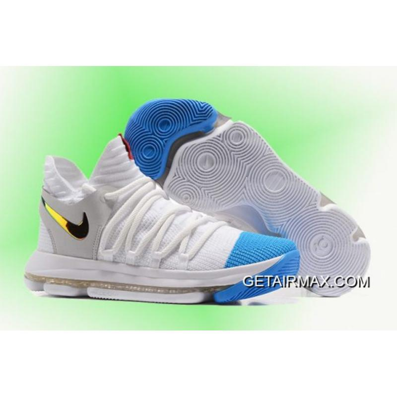 cheaper 2ee86 e8f43 Outlet Newest Sale! Nike KD 10 White Blue Gold Men's Basketball Shoes