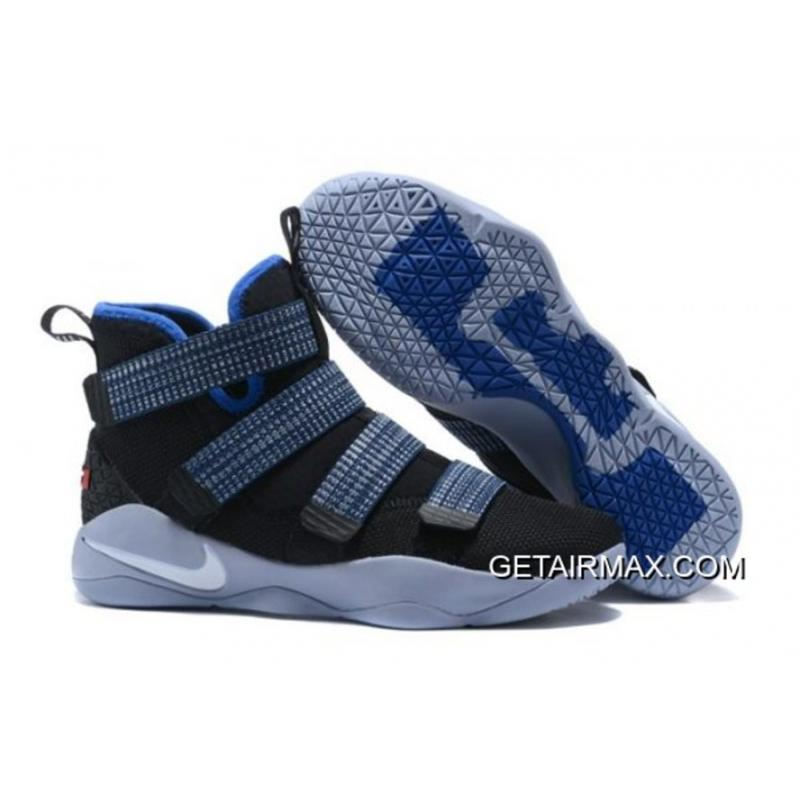 1652fb480f7c Latest Nike LeBron Soldier 11  Steel  Black-Red And Blue ...