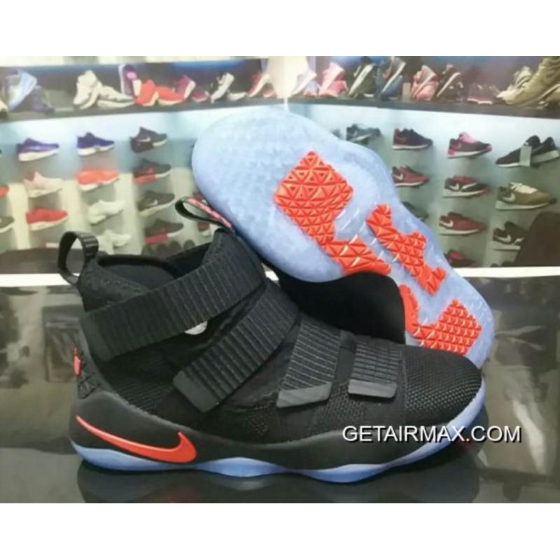 eaba2624cd2f Free Shipping Nike LeBron Soldier 11 Black University Red ...