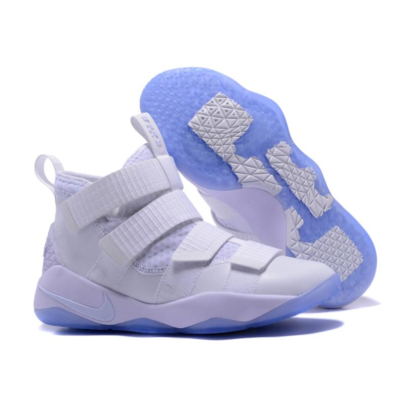 new style 738a5 nike lebron soldier 11 Blanc and Noir pure platinum
