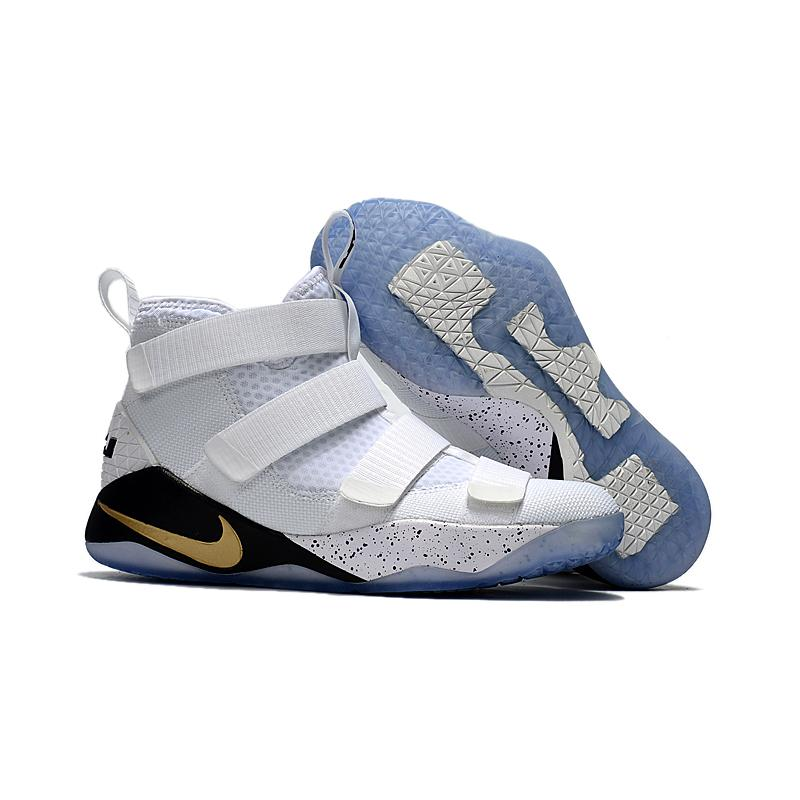 9a0aaf40f33 Nike LeBron Soldier 11  Court General  White And Metallic Gold-Black Best  ...