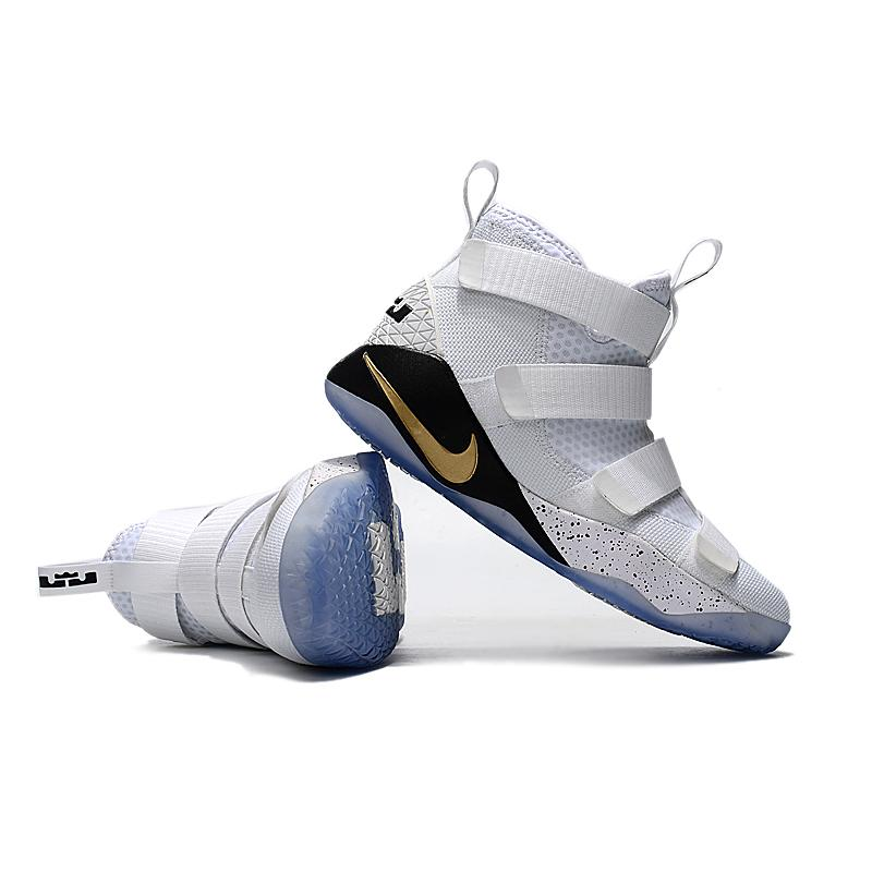 8c90f439430 ... Nike LeBron Soldier 11  Court General  White And Metallic Gold-Black  Best ...