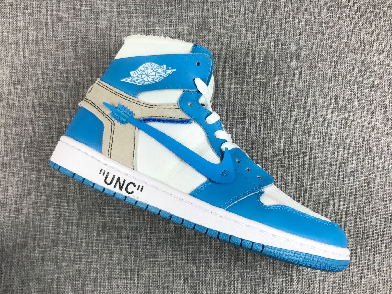 d53dc6f54fd2 New Style Off-White X Air Jordan 1  UNC  White University Blue ...