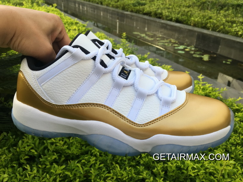 new style 7132b 2a7f9 Outlet Air Jordan 11 Low  Olympic  White And Metallic Gold Coin-Black