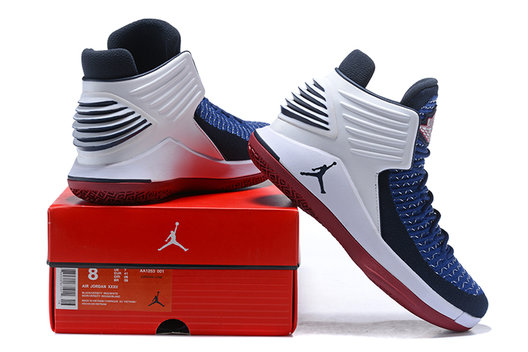 fe07aa517d9499 Air Jordan 32  Cavs  White Blue Red New Release
