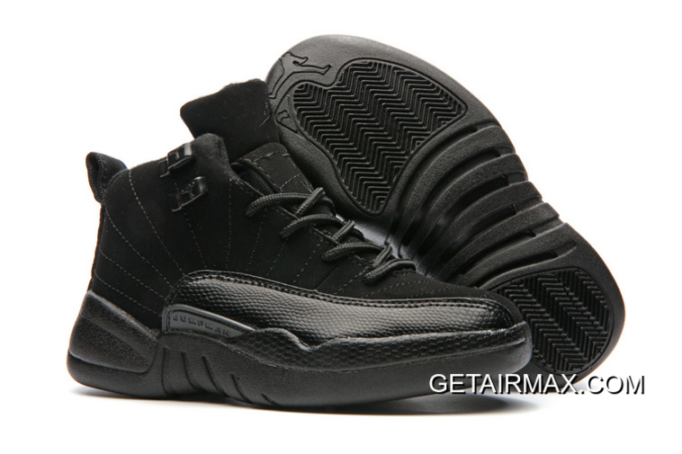 57846053b94f Copuon Kids Air Jordan 12 Triple Black