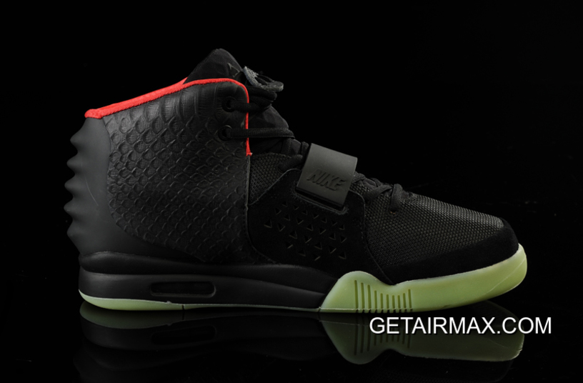 competitive price d8afb a8f6f Glow In The Dark Nike Air Yeezy 2  Black Solar Red  Free Shipping