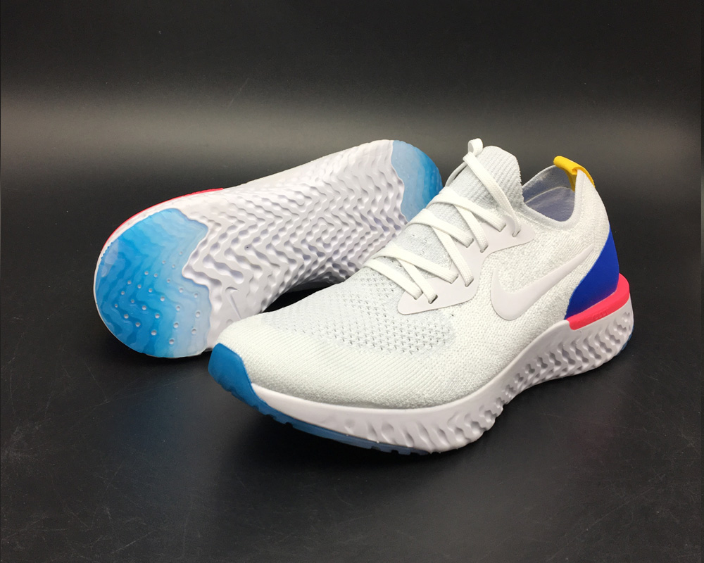 96df6dbe3405 Nike Epic React Flyknit Running Shoes White Racer Blue-Pink Blast Online