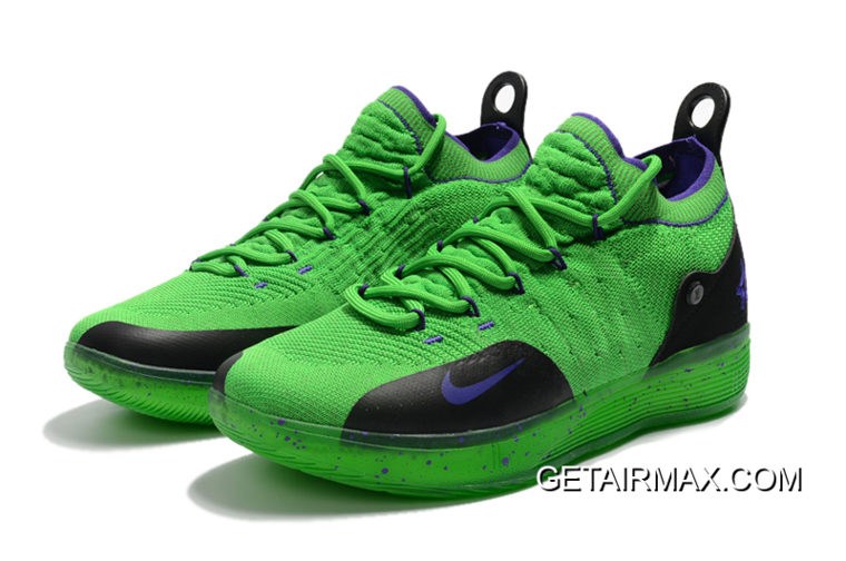 newest 6ceae 966cc Kevin Durant s Nike KD 11 Green Black-Purple New Release