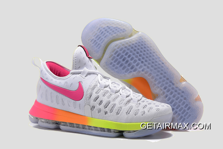 wholesale dealer fbf32 835ba Nike KD 9 White Pink-Orange-Volt Basketball Shoes Outlet