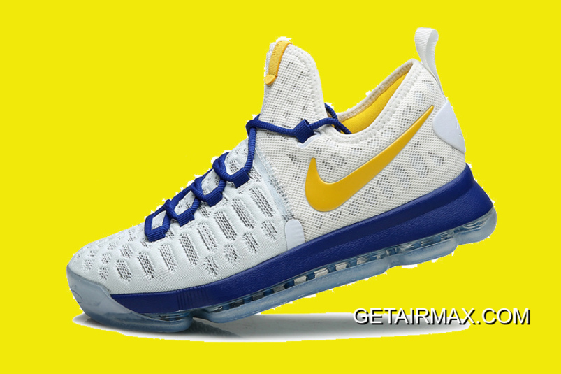 "outlet store 1dc68 52144 Nike KD 9 ""Golden State Warriors"" White Blue Yellow New Release"