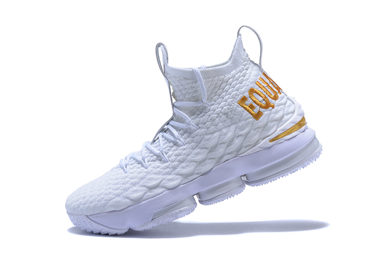 92a3db932b7e9b Nike LeBron 15  Equality  PE White And Metallic Gold Outlet