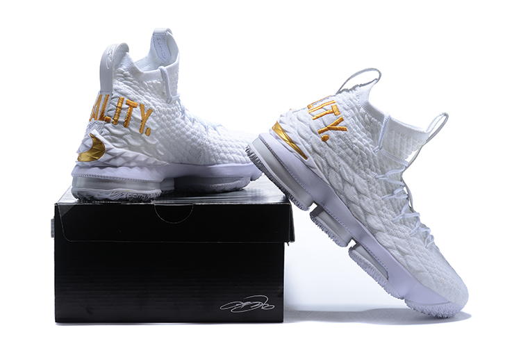 8d27b6f9f55 Nike LeBron 15  Equality  PE White And Metallic Gold Outlet
