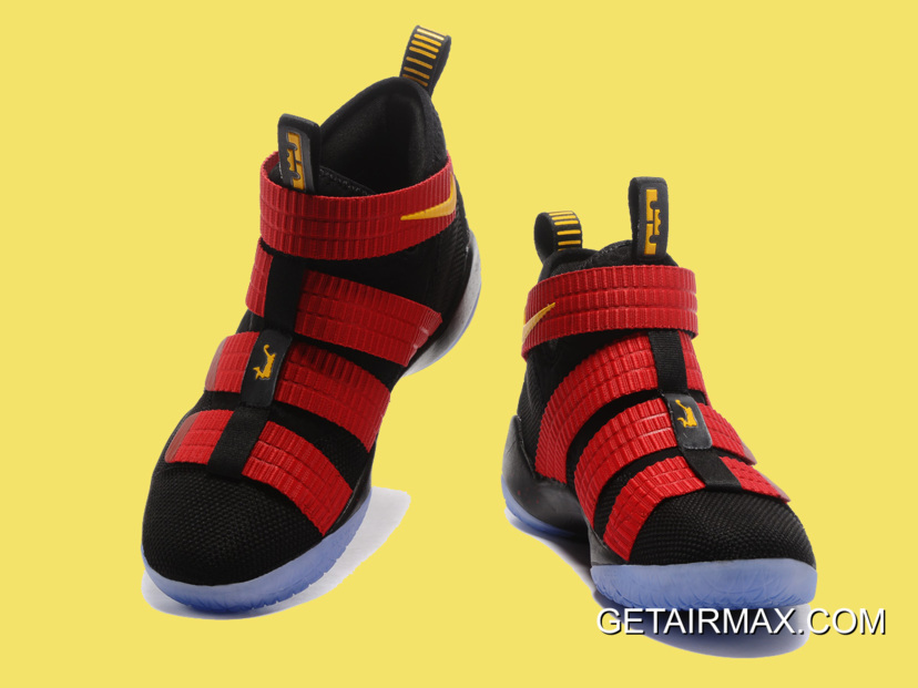 623ceb98325 Nike LeBron Soldier 11 Black And Red Gold Top Deals