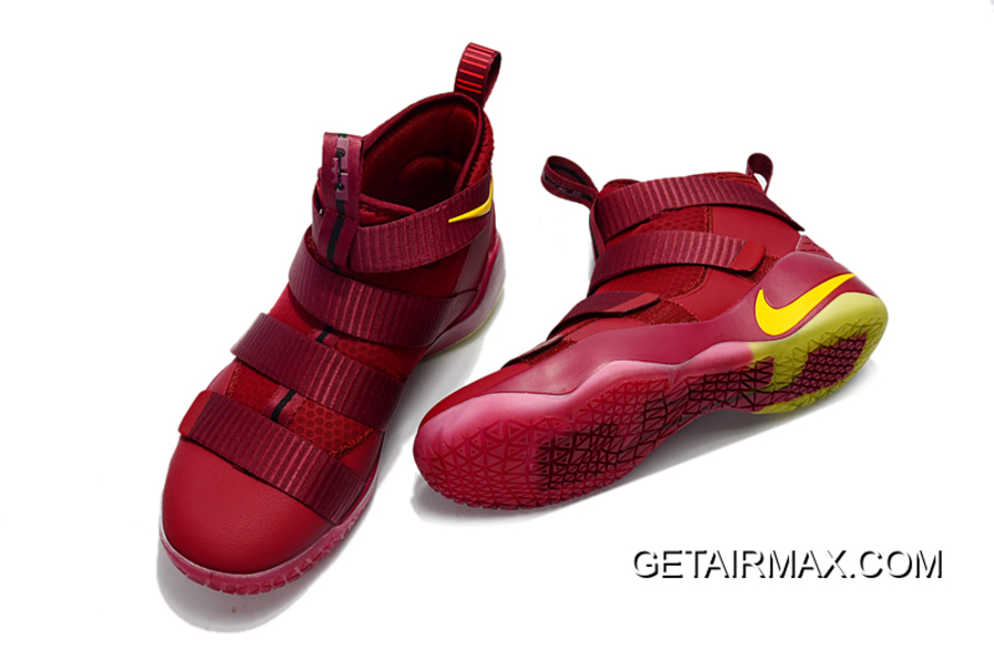 the latest eb8b1 eb4db Nike LeBron Soldier 11 PE  Cavs  Wine Red Gold Discount