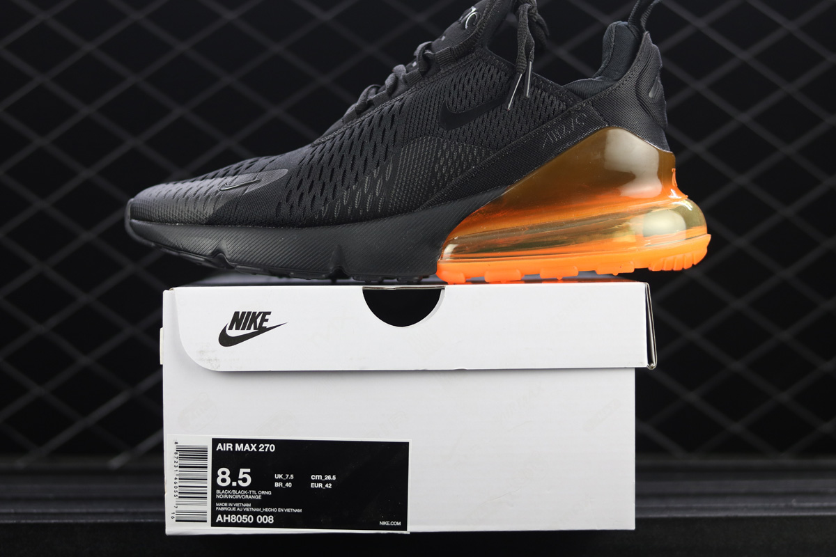 huge selection of d70c6 8fe8f Nike Air Max 270 Orange Black Outlet
