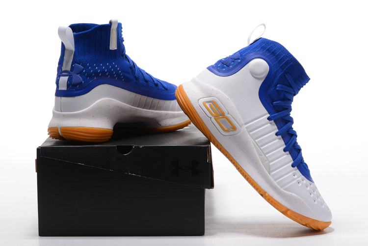 bdcc646a1305 Free Shipping Under Armour Curry 4 White Royal Blue-Gum